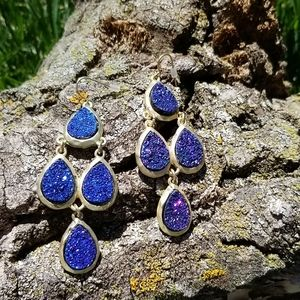 Shimmery blue and gold tone chandelier Ear…